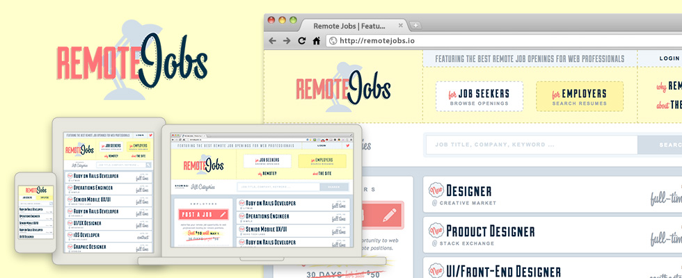 Remotejobs.io logo, interface and responsive design